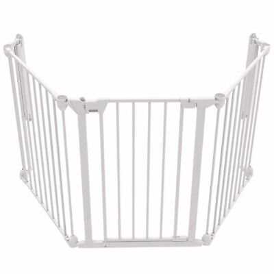 Noma 3-Panel Safety Gate Modular Metal White Baby Security Barrier Home 94054