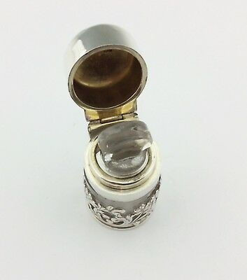 Pretty Edwardian Solid Silver & Glass Dressing Table Bottle 1901