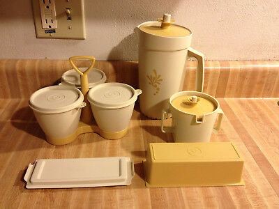 Tupperware Sugar 1415 Butter 636 Condiment 757 1 Qt. Pitcher 874 Almond Gold Set