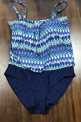 5320a17dd04 Long Tall Sally Swimsuit Blouson Blues Size 18 Tall NEW One Piece Bathing  Suit