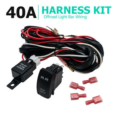 12V 40A Led Offroad Wiring Loom Harness Relay Fuse Switch Kit Bar Work Light New