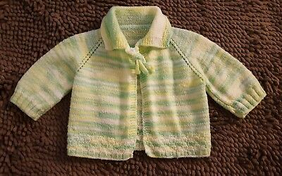 Handmade*Vintage Green Striped Baby Sweater*Size Newborn*EVC