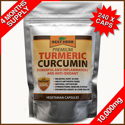 240 Turmeric Curcumin 95% BioPerine Black Pepper Pills Extra Strength Tumeric #1