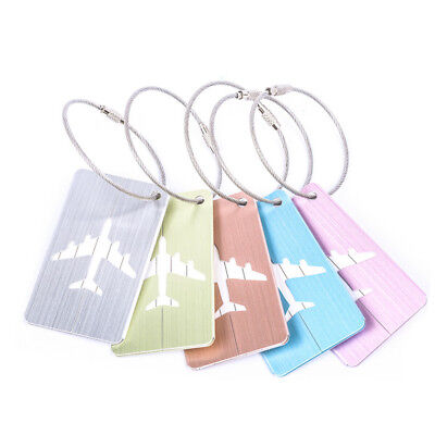 New Brushed Aluminium Luggage Tags Suitcase Label Name ID Baggage Tag Travel