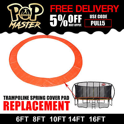 6FT/8FT/10FT/14FT/16FT Replacement Curved Trampoline Spring Cover Pad Orange
