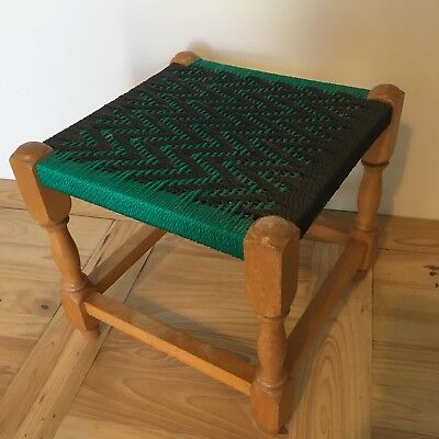Vintage Green & Black Wooden Rope Stool Seat 11.5 Inches Square 10 Inches High