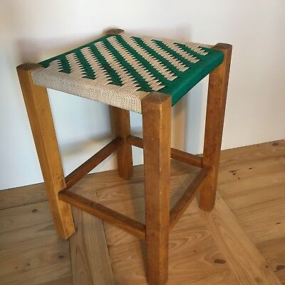 Vintage Green & White Wooden Rope Stool Seat 11 Inches Square 17 Inches High