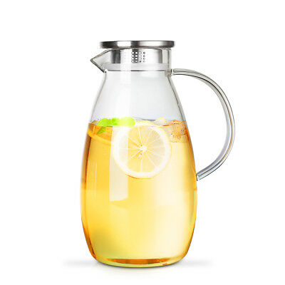 26l888oz Glass Water Pitcher With Stainless Steel Lid Jug For Ice