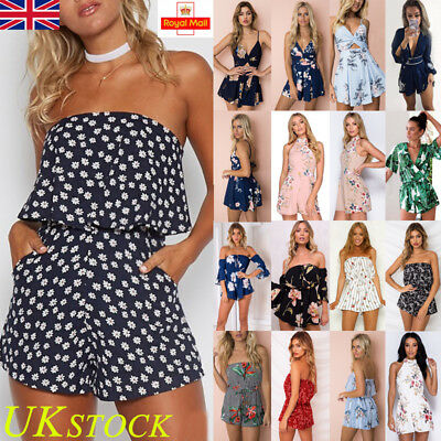 UK Womens Holiday Mini Playsuit Jumpsuit Ladies Summer Tops Beach Blouse Dress