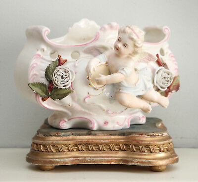 Charming Antique Late c19th French Cherub & Tambourine Cachepot, Deposé