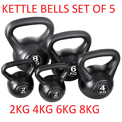 Kettle Bells Weight Lifting Gym Equipment Strength Fitness Set of 5 2 4 6 8KG