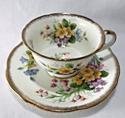 Gold Rimmed Floral Bouquet Meadowsweet Foley Tea Cup and Saucer Set