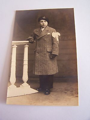 Vintage RP Postcard Boy Suit White Scarf tied on one Arm Hat & badge Gloves