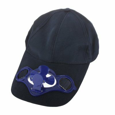 Solar Powered Air Fan Cooled Baseball Hat Solar Panel on the Cap Front Dark Blue
