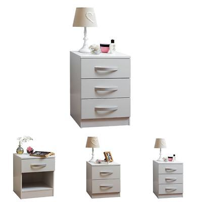 Hulio 1 2 3 Drawer Bedside Chest Cabinet High Gloss Wood Bedroom Storage White