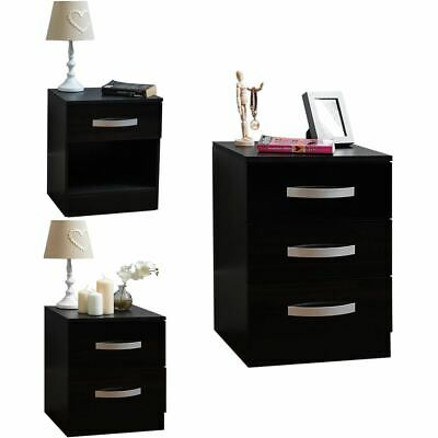 Hulio 1 2 3 Drawer Bedside Chest Cabinet High Gloss Wood Bedroom Storage Black