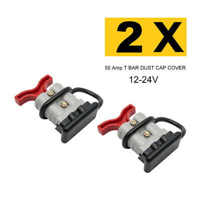 Pair 12-24V Premium ANDERSON STYLE PLUG CONNECTORS 50 Amp T-BAR DUST CAP COVER