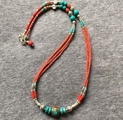 NL-08 Nepalese Handmade Ethnic Turquoise Coral Red Beads White Metal Necklace