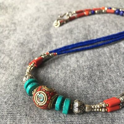 NL-10 Nepalese Handmade Ethnic Turquoise Coral Blue Bead White Metal Necklace