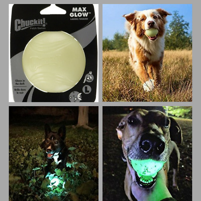 Chuckit Max Glow Ball  Extend Fetch Time For Large Dogs Rechargable Glow In Dark