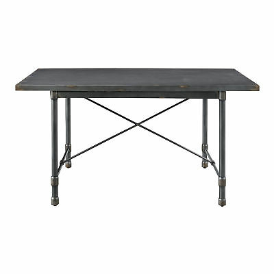 Accentrics Home Industrial Metal Table with 4 White Chairs DS-D066-DR-K4
