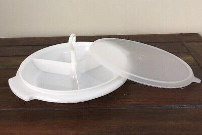 Tupperware Suzette Divided Serving Platter Round White Small 21cm Lid & Handle