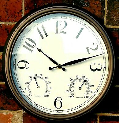 Big Brown Garden Wall Clock Traditional Large Outdoor Safe Thermometer Easy Read