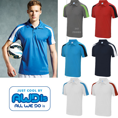AWDis SPORT POLO SHIRT CONTRAST COLOURS FOOTBALL TENNIS TRAINING UPF PROTECTION