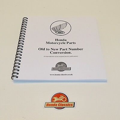 Honda Motorcycle Part Number Old to New Cross Reference Book Reproduction HPL021