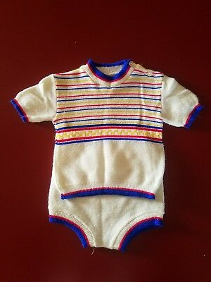 2-Piece Baby Boy Vintage Knit Set by Play Ware Made In Israel sz 12 Months