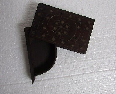 Vintage Old Hand Carved Brass Fitted Unique Wooden Betel Nut Box, Collectible