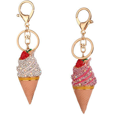 Key Chians Purse Bag Diamante Ice Cream Keyrings Keychain Charm Pendant Gift