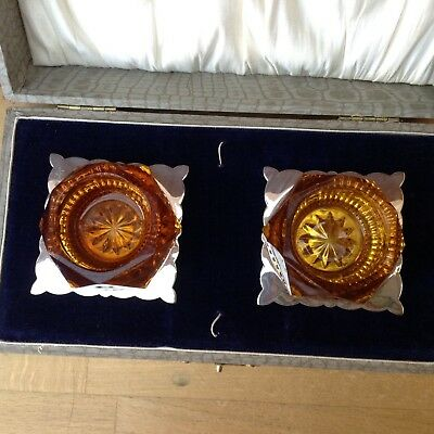 Two Vintage Silver Plated & Amber Glass Salts