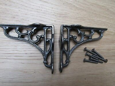"4"" PAIR OF ANTIQUE IRON cast Victorian scroll ornate shelf support wall brackets"