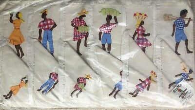 Set of 6 Vintage Jamaican Hand Embroided Mats & Napkins by Allsides Workroom New