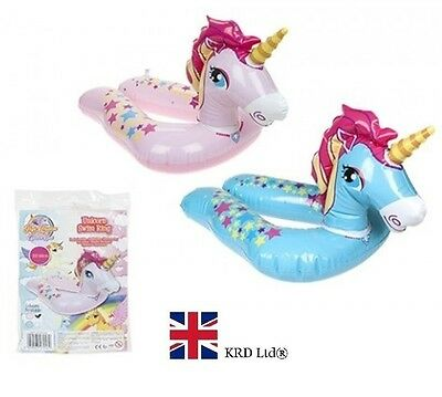 "22"" INFLATABLE UNICORN SPLIT SWIMMING RING Water Float Raft Pool Fun Beach UK"