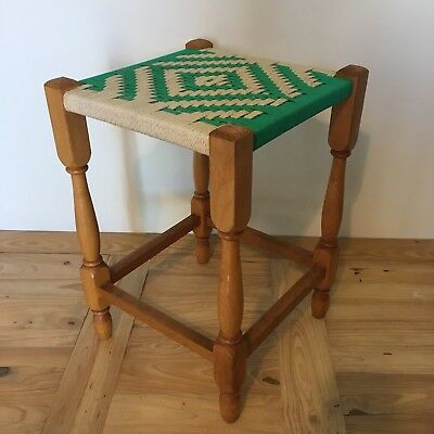 Vintage Green and White Wooden Framed Rope Stool 44cm Tall Seat 29cm Square