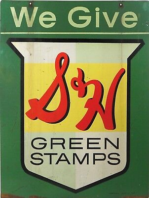 Vintage Retro Reproduction We Give S&H Green Stamps Metal Sign 9x12