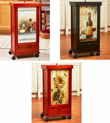 Decorative Rolling Kitchen Trash Bin w/ Drawer Country Wine Sunflower Home Decor