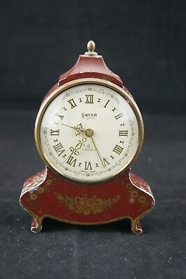 Vintage Swiza 8 Mignon 7 Jewels Alarm Travel Clock Swiss Made Collector Piece
