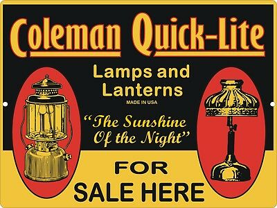 Vintage Retro Reproduction COLEMAN Lamps & Lantern Quick-Lite  Metal Sign 9x12
