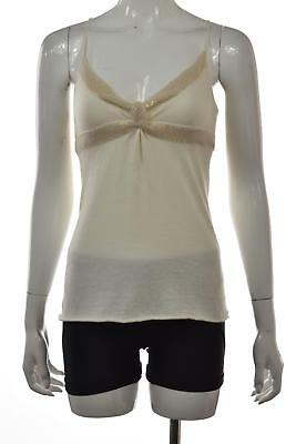NEW A/X Armani Exchange Top Size S Ivory Sequined Sleeveless Shirt Blouse Tank