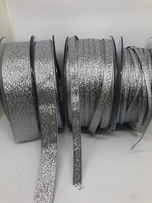 SILVER Berisfords Sparkly Lame Glitter Ribbon 3, 7, 15, 25 & 40mm  FREE P & P