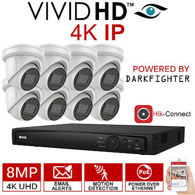 Hikvision 8Mp Cctv System Ip Poe 8Ch Channel 4K Uhd Network Nvr Dome Camera Kit