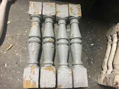 "c1900 Victorian chunky porch railing baluster spindles set of 4 - 18"" x 2 7/8"""