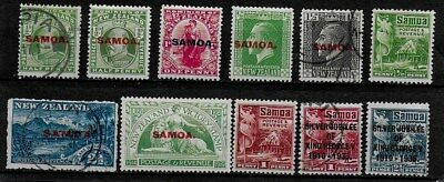 Samoa 1914 to 1935 - 11 Stamps mainly KEVII and KGV - Used and MH