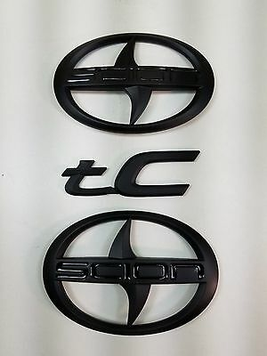 3 PCS  Scion Black Matt Emblem Badge Sticker decal tC trunk Grill  New 2012-2016