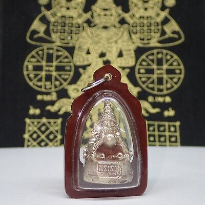 Thai Amulet Mythical God Darkness PHRA RAHU om Moon Lucky Statue Pendant Case