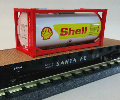 O GAUGE MODEL Rail Road Santa Fe Flatcar with Shell Oil Company Fuel  Container