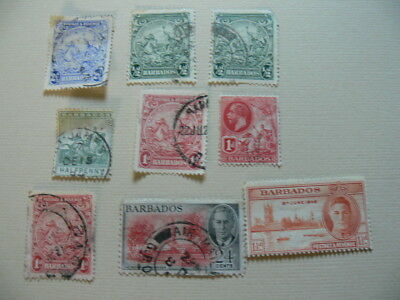 9 x Mixed BARBADOS Stamps. Vintage.